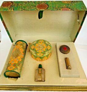 Vintage Coty EMERAUDE Box Perfume bottle Talcum Powder Compact & Lipstick Set