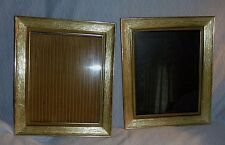 Pair of mid century 1950s gold plastic & brass photo frame, 8x10, clear glass