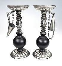 2 Pillar Candle Holders Silvertone Metal & Wood Hanging Snuffers