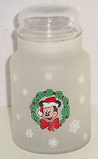 Disney Mickey Mouse Christmas Glass Candy Jar Holiday Santa Frosted Snowflakes