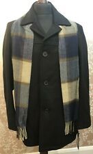 Men's - Tommy Hilfiger - Melton Wool Peacoat with Scarf, Black - Large