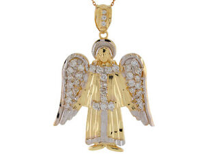 10k or 14k Two-Tone Gold Bright White CZ Accented 4.9cm Wide Angel Pendant