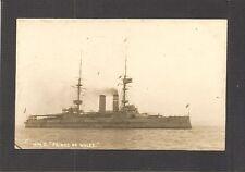 REAL-PHOTO POSTCARD:  BRITISH ROYAL NAVY WW-1 BATTLESHIP:  HMS PRINCE OF WALES