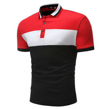 Colorblock Single-breast Simple Design Polo Shirt - Red