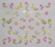 Accessoire ongles nail art Stickers autocollants- fleurs multicolores