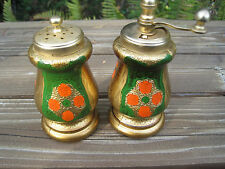 Vintage Italy Salt & Pepper Shaker Grinder Acciaio Temperato Italian Green Gold