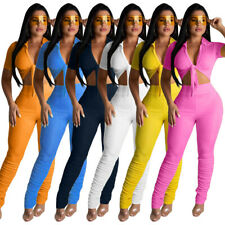 New Stylish Women Short Sleeves V Neck Tie-Front Solid Bodycon Club Jumpsuit2pcs