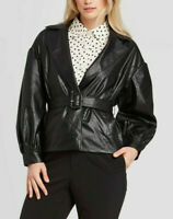 Who What Wear Women's Faux Leather Belted Blazer Jacket, Black, Size S, $50, NwT