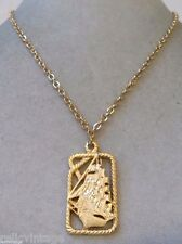STUNNING VINTAGE ESTATE SIGNED GOLD TONE BOAT SHIP OCEAN NECKLACE!!! WGA3207