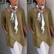 Women Loose Half Sleeve Cotton Linen T-Shirt Summer Pocket Tops Blouse Pullover