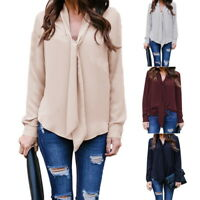 Fashion Women Lady Long Sleeve Shirt Chiffon Blouse Casual Tops T Shirts S-2XL