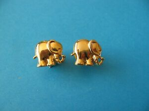 2, ELEPHANT Pin Badges, Gold Coloured Metal. VGC