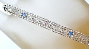 Antique Sapphire Diamond Filigree Bar Pin 14K White Yellow Gold Edwardian Brooch