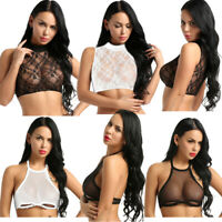Women Sheer Mesh Lace Crop Top Shirt Sleeveless Tank Tops Vest Casual Tee Blouse