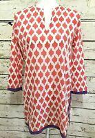 Roberta Roller Rabbit tunic top cover up orange white purple trimming Size XS