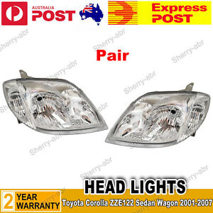 For Toyota Corolla ZZE122 Sedan Wagon 2001-2007 Pair LH+RH HeadLight Front Lamp