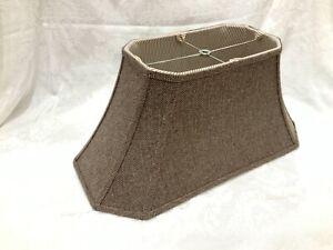 "20"" x10""x9"" Herringbone Lamp Shade Brown Cream Long Rectangular Empire Bell"