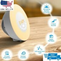 Wake Up Light Alarm Clock Digital LED 6 Color Switch Radio Sunrise Natural 2nd e