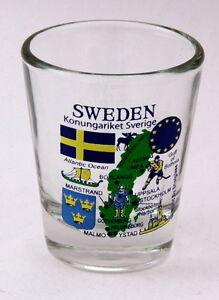 SWEDEN EU SERIES LANDMARKS AND ICONS COLLAGE SHOT GLASS SHOTGLASS