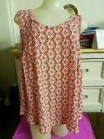 Sleeveless Pink Patterned Top by M&S, Size 20