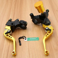 Universal Gold Motorbike Brake Clutch Master Cylinder Levers Reservoir 22mm