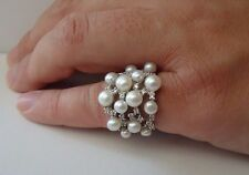 LADIES PEARL RING W/ WHITE PEARLS & ACCENTS/SZ 5-9 /925 STERLING SILVER