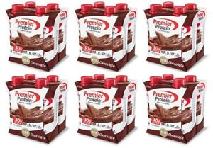 ( Pack of 6 ) Premier Protein Shake, Chocolate, 30g Protein, 11 Fl Oz, 4 Count