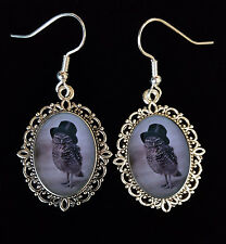 Victorian Owl Top Hat Antique Silver Drop Earrings Goth Victoriana Steampunk