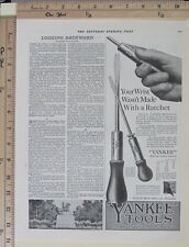 1919 NORTH BROS Yankee Tool Ratchet Screw-drivers screwdriver Vtg Print Ad 9925