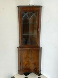Antique regency style flame mahogany glazed corner display cabinet - Delivery