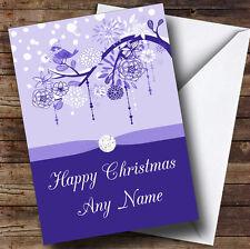 BLUE Xmas Uccello personalizzata cartolina di Natale