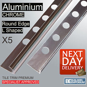 5 Pack Chrome Tile Trim Straight Edge or Round Edge Aluminium 8,10 & 12mm