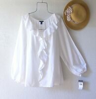 New~$66~White Peasant Blouse Shirt Cotton Lace Ruffle Plus Size Boho Top~1X
