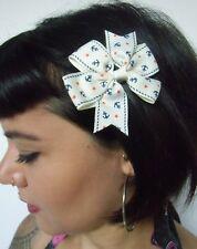 Pinza clip capelli nodo bianco biancastro ancora galleggiante stelle pinup
