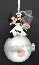 NEW Disney Parks Mickey & Minnie Mouse Just Married Wedding Ball Glass Ornament