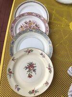 4 Vintage Mismatched China DINNER PLATES Dark Pink Burgundy Roses blues, Wedding