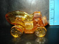 LG Wright Clear Amber Glass Horseless Carriage Ashtray Car