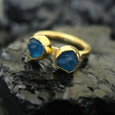 Turkish Ancient Handmade Natural Rough Neon Apatite Gold Over Sterling Silver