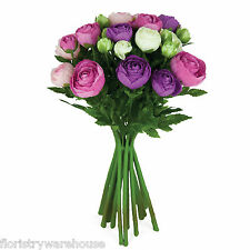 Artificial silk Ranunculus flower arrangement pink lilac & cream 15 stems 33cm