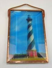 Copper & Beveled Glass Lighthouse Window Decorative Hanger Light Catch 3.5 x 2""