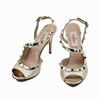 New Valentino Garavani Rockstud Metallic Strappy Sandals Size US 5.5 (EU 35.5)