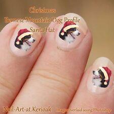 Bernese Mountain Dog Profilo Natale Babbo Natale Cappello, NAIL ART ADESIVI, decalcomanie REGALO