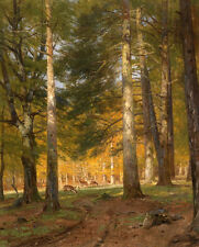 Art Oil painting wild animal deer in Pine forest landscape in autumn on canvas
