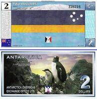 ANTARCTICA 2 DOLLARS 28 - 11 - 1999 UNC 2 PCS CONSECUTIVE PAIR TRAGEDY of 901