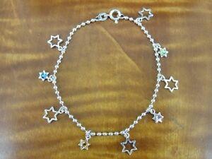 Stars and Multi Color Stones Sterling Silver 925 Bracelet