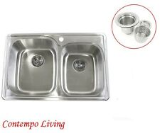 "33"" Topmount Drop In 60/40 Stainless Steel Kitchen Sink"