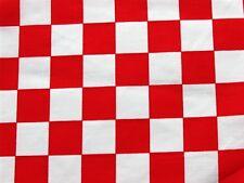 RED WHITE CHECKER BOARD RETRO POP FLAG CHEF BLEND SEW CRAFT DECOR FABRIC BTHY#