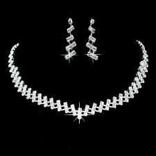 Silver Tone, Crystal Diamante Necklace and Earrings Set