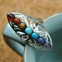 Adjustable Thumb Reiki Gem Ring Healing Hollow Stone Silver Plated 7 Chakra