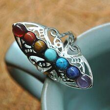 Adjustable Thumb Reiki Gem Ring Healing Hollow Stone Silver Plated 7 Chakra